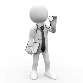 Doctor with a stethoscope auscultation